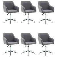 vidaXL Obrotowe krzesła do jadalni, 6 szt., jasnoszare, tkanina