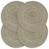 vidaXL Maty na stół, 4 szt., gładkie, szare, 38 cm, okrągłe, juta