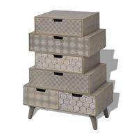 vidaXL Komoda z 6 szufladami, szara