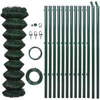 vidaXL Siatka ogrodzeniowa ze stali, 1,5x25 m, zielona