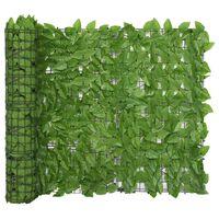 vidaXL Parawan balkonowy, zielone liście, 300x100 cm