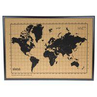 milimetrado Korkowa mapa ścienna z drewnianą ramą, czarno-brązowa