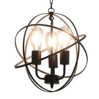 vidaXL Lampa wisząca, czarna, sferyczna, 3 żarówki E27