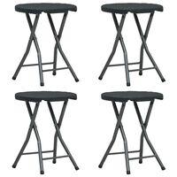 vidaXL Składane stołki ogrodowe, 4 szt, czarne, HDPE, rattanowy wygląd