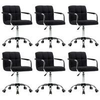 vidaXL Obrotowe krzesła do jadalni, 6 szt., czarne, tkanina