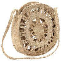 vidaXL Okrągła torebka, ażurowa, naturalna, ręcznie robiona, jutowa