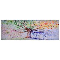vidaXL Zestaw obrazów z deszczowym drzewem, kolorowy, 120x40 cm