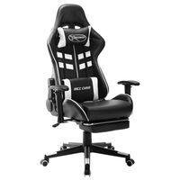 vidaXL Fotel dla gracza z podnóżkiem, czarno-biały, sztuczna skóra