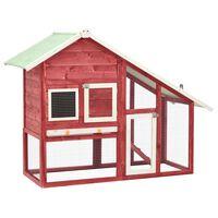 vidaXL Domek dla królika, czerwono-biały 140x63x120 cm, drewno jodłowe