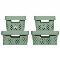 Curver Zestaw pudełek Infinity z pokrywami, 4 szt., 4,5L+11L, zielony
