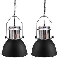 vidaXL Metalowe lampy sufitowe, 2 szt., regulowana długość, czarne