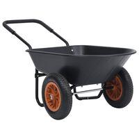 vidaXL Taczka, czarno-pomarańczowa, 78 L, 100 kg