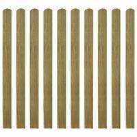 vidaXL Impregnowane sztachety, 10 szt., drewno, 120 cm