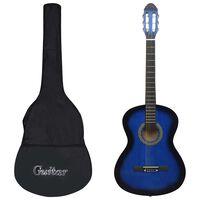 """vidaXL 12-częściowy zestaw z gitarą klasyczną, niebieski, 4/4, 39"""""""