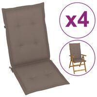 vidaXL Poduszki na krzesła ogrodowe, 4 szt., taupe, 120x50x4 cm