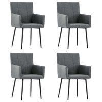 vidaXL Krzesła stołowe z podłokietnikami, 4 szt., ciemnoszare, tkanina