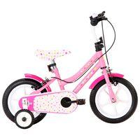 vidaXL Rower dla dzieci, 12 cali, biało-różowy