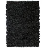 vidaXL Dywan shaggy, prawdziwa skóra, 120x170 cm, czarny
