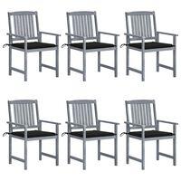 vidaXL Krzesła ogrodowe z poduszkami, 6 szt., drewno akacjowe, szare