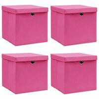 vidaXL Pudełka z pokrywami, 4 szt., różowe, 32x32x32 cm, tkanina