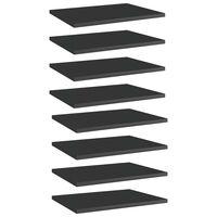 vidaXL Półki na książki, 8 szt., wysoki połysk, czarne, 40x30x1,5 cm