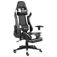 vidaXL Obrotowy fotel gamingowy z podnóżkiem, biały, PVC