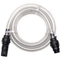 vidaXL Wąż ssący ze złączkami, 4 m, 22 mm, biały