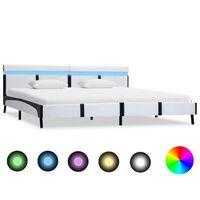 vidaXL Rama łóżka z LED, biała, sztuczna skóra, 180 x 200 cm