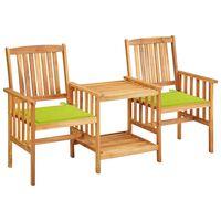 vidaXL Krzesła ogrodowe ze stolikiem i poduszkami, drewno akacjowe