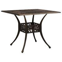 vidaXL Stół ogrodowy, brązowy, 90x90x73 cm, odlewane aluminium