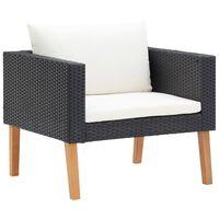 vidaXL Pojedyncza sofa ogrodowa z poduszkami, rattan PE, czarny