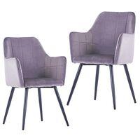 vidaXL Krzesła stołowe, 2 szt., szare, aksamitne