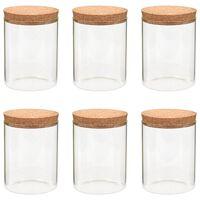 vidaXL Szklane słoje z korkową pokrywką, 6 szt., 650 ml
