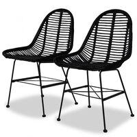 vidaXL Krzesła stołowe, 2 szt., czarne, naturalny rattan