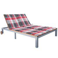 vidaXL 2-osobowy leżak z poduszką, lite drewno akacjowe i stal