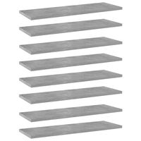 vidaXL Półki na książki, 8 szt., szarość betonu, 60x20x1,5 cm, płyta
