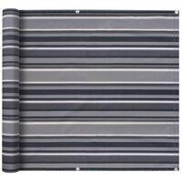 vidaXL Parawan balkonowy z tkaniny oxford, 90x600 cm, szare paski