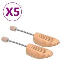 vidaXL Prawidła do butów, 5 par, rozmiar 44-45, lite drewno sosnowe