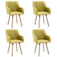 vidaXL Krzesła stołowe, 4 szt., zielone, tapicerowane tkaniną