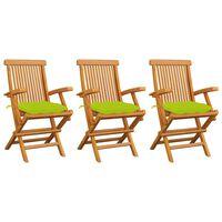 vidaXL Krzesła ogrodowe, jasnozielone poduszki, 3 szt., drewno tekowe
