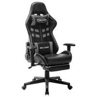 vidaXL Fotel dla gracza z podnóżkiem, czarno-szary, sztuczna skóra