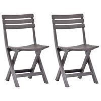 vidaXL Składane krzesła ogrodowe, 2 szt., plastikowe, mokka