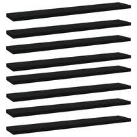 vidaXL Półki na książki, 8 szt., czarne, 60x10x1,5 cm, płyta wiórowa