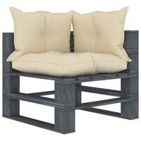 vidaXL Ogrodowe siedzisko narożne z palet, z kremowymi poduszkami