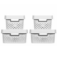 Curver Zestaw pudełek Infinity z pokrywami, 4 szt., 4,5L+11L, biały