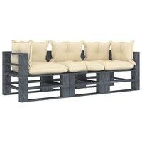 vidaXL Ogrodowa sofa 3-osobowa z palet, z kremowymi poduszkami, drewno
