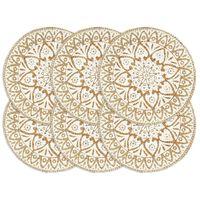 vidaXL Maty na stół, 6 szt., białe, 38 cm, okrągłe, juta