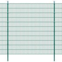 vidaXL Panele ogrodzeniowe 2D z słupkami - 2008x2230 mm 10 m Zielone