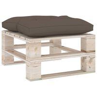 vidaXL Ogrodowy stołek z palet z poduszką taupe, drewno sosnowe