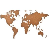 MiMi Innovations Drewniana mapa świata Luxury, brązowa, 90x54 cm